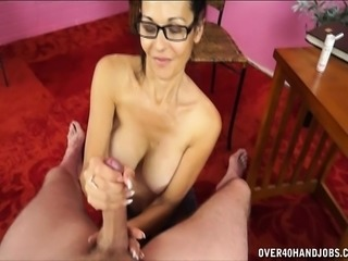Aunt Trudy drops to her knees and drives a cock to pleasure POV style