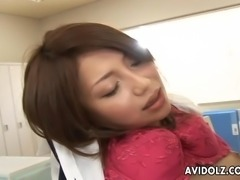 Asian bitch getting fucked in the office so hard