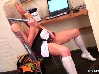 Blonde maid sticks a pink dildo up her ass