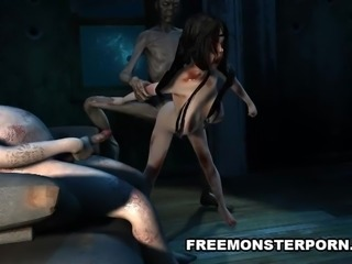 Infected 3D Babe Double Teamed by Zombies
