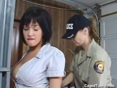 Arrested girl doesn't want the cop to take off her boots and socks