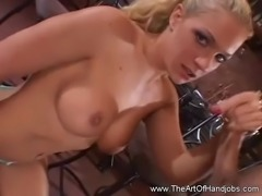 Blonde chick Teases while Stroking a Cock