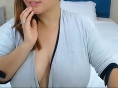 Seductive large breasts drooled on