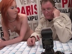 Pretty petite french redhead slut hard double teamed