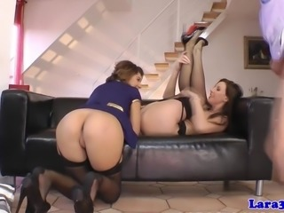 British milf shares cum with gorgeous babe