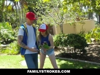 FamilyStrokes - Nerdy Step Sis Blows Brother For PokemonGO