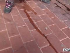 Pink hair slut flashing in public