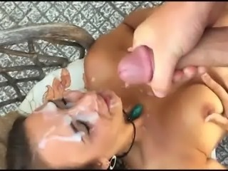 Cute brunette gets a massive facial