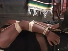 Ebony Girl hogtied and gagged in Jeans and Boots