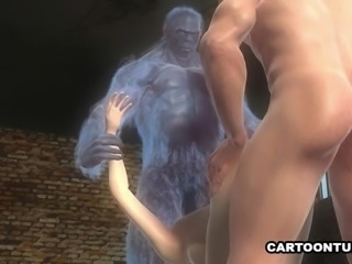 3D Cartoon Babe Fucked by Two Mutants