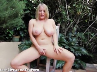All Natural Maggie Green Cums Outside!