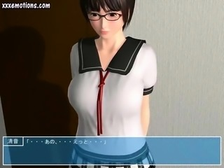 Animated babe with big boobs getting slammed