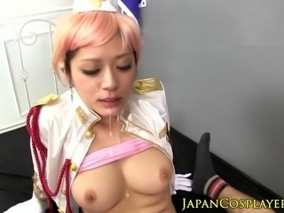 Cosplay asian sucks dick in uniform