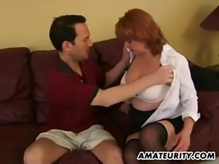Busty amateur milf sucks and fucks with cumsh