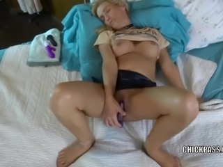 Horny wife Jolene lifts her skirt and fucks her toys