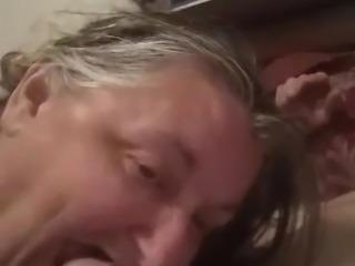 Fat granny sucking cock