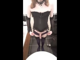 Goth Crossdresser Cumshot