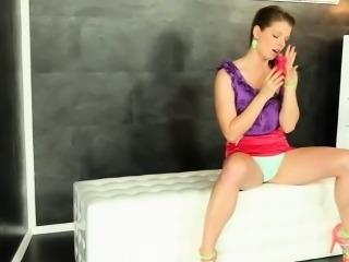 Bukakke glam babe masturbates at gloryhole