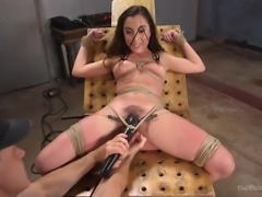 Roxanne's ok with the ropes and the vibrator, that's tied securely in place...