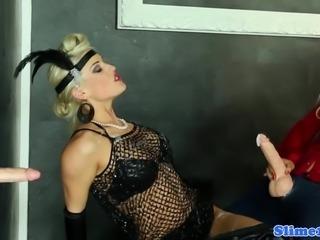 Domina bukkake lesbo fucking at gloryhole