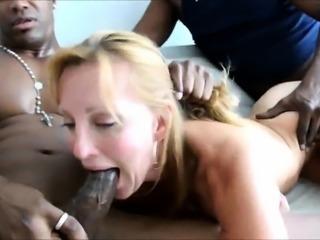 Slutty MILF cheater enjoying two black cocks