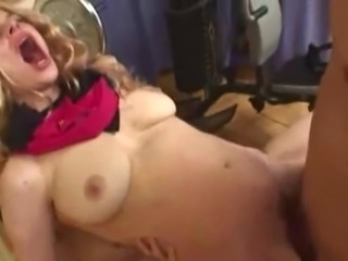 Hairy blonde wig Lady Sucks On Two Dicks And Gets Double