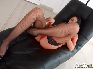 Santa style Romanian beuaty Aida gets in the ass on