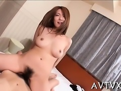 Horny japanese babe ravishes a 10-pounder with her mouth