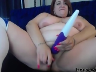 Naughty busty redhead bbw with two toys