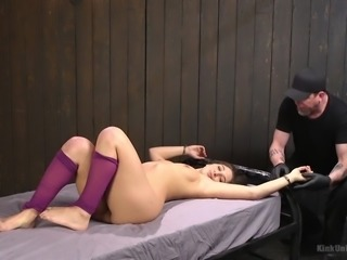 Abella Danger was tied to the bed and severe master fingered her pussy...