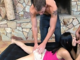 All holes get stuffed with hard cocks in a wild MMF bisexual threesome