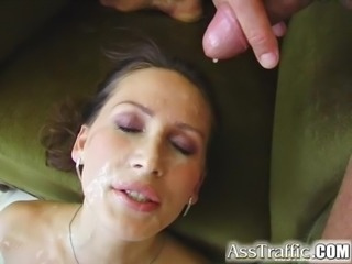 Ass Traffic Skilled brunette has orgasm while double