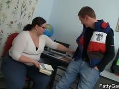Chubby big belly teacher seduces him for play