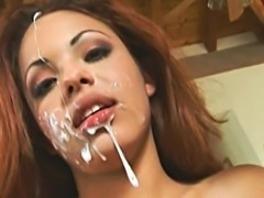 Latina hottie Veronica taking a messy double facial