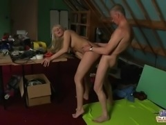 Big tits cutie tempting shy grandpa with her wet young pussy