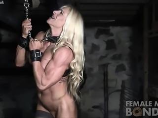 Muscular Female Jill Bound in Dungeon