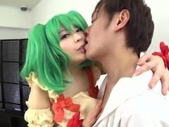 horny babe seduced japanese guy wearing naughty costumes