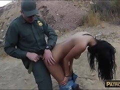 Pretty amateur latina screwed by border patrol officer