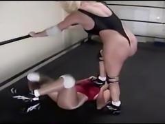 Thong Back High Leg Leotards and Female Wrestling Domination