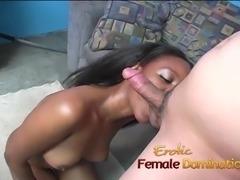Slutty ebony playgirl sits on a kinky Asian dudes face