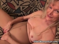 Granny Claire fucks herself with a dildo
