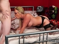 Unusual sex kitten gets jizz load on her face swallowing all