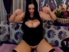 A Primer - Big tit brunette riding her dildo tits bounce