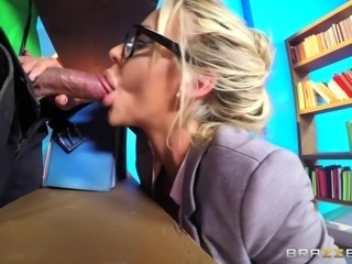 We all dreamed of having sex with that one teacher, when we were in high school. Now imagine, if that fantasy came true and your teacher looked like Courtney Taylor. Pretty face with glasses on, very big tits and ass, and willing to suck your cock right down to the balls. Who wouldn't want that?!