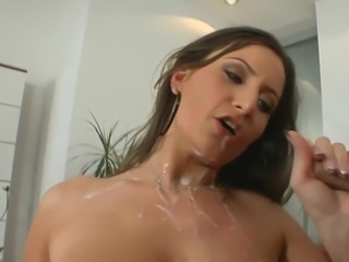 Huge cumshot on titties