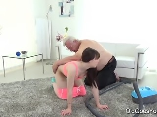 Luna was just minding her own business, getting on with her job of vacuuming the rug in the living room, when this old guy came up to her from behind and started rubbing her tits, ass and pussy Fucked, Gets-fucked, Old, Young, Young-fucked