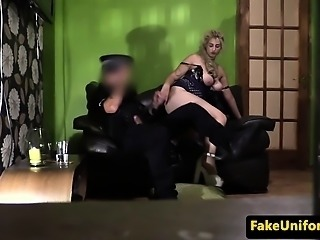 Busty british amateur doggystyled by police