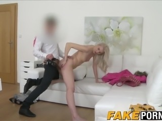 Stunning blonde bombshell Lexi gets drilled on a casting