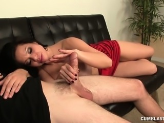 Exotic nympho seduces a hung stud and slowly jerks off his long prick