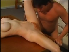 Buxom milf spreads her long legs and gets her hairy peach nailed deep
